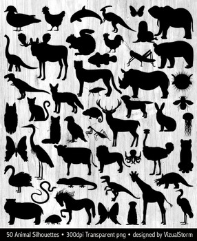 50 Animal Silhouettes Bundle, Woodland, Dinosaurs, Insects