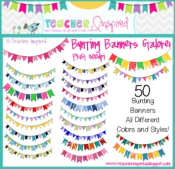 50 Bunting Banners Clip Art Pack