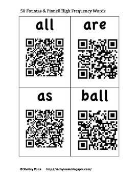 50 Fountas & Pinnell QR High Frequency / Sight Words Flash