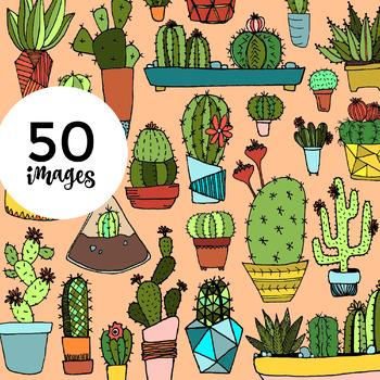 50 Hand-drawn Cacti Clip-Art w/ Color Fill