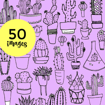 50 Hand-drawn Cacti Clip-Art w/ Transparent Fill