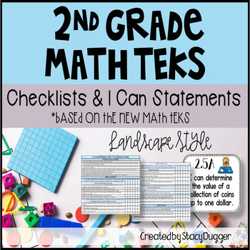 Math TEKS Checklists and I Can Statements (Landscape) 2nd Grade
