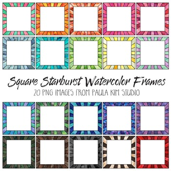 Square Watercolor Starburst Frames