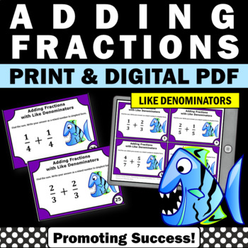 Adding Fractions with Like Denominators 4th Grade Math Centers
