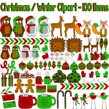 50% OFF Christmas / Winter Clipart and Paper Bundle - 100 items!