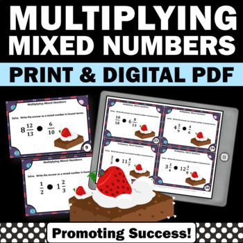 Multiplying Mixed Numbers Task Cards Scavenger Hunt or SCO