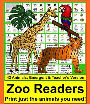 Zoo Field Trip Differente Readers - 2 Levels - 42 Animals