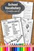Back to School Vocabulary Crossword Puzzle Worksheets