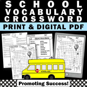 school vocabulary crossword puzzle worksheet