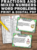 Multliplying Mixed Numbers and Fractions Word Problems Task Cards