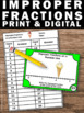 Improper Fractions on a Number Line Task Cards 3rd Grade M
