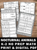 The Kissing Hand Math Review Worksheets Nocturnal Animals