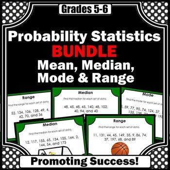 Mean Median Mode Range BUNDLE of Task Cards for Math Games