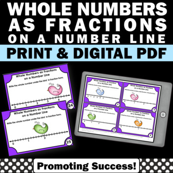 Whole Numbers as Fractions on a Number Line Task Cards 3rd