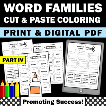 Word Families Part IV Phonics Worksheets & Word Work Vocab