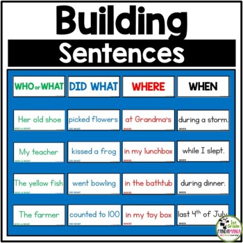 Building Sentences Pocket Chart Center Activity