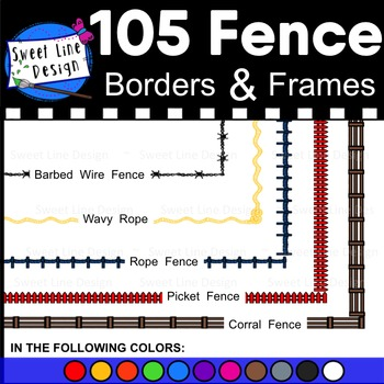 Clipart - Fence Frames (Barbed Wire, Corral, Picket, Rope,