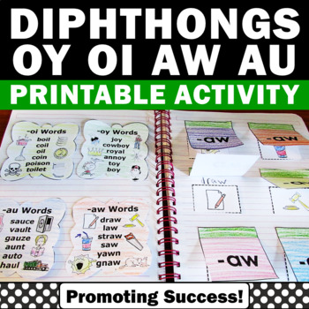 Diphthongs Interactive Reading Notebook Phonics Word Work
