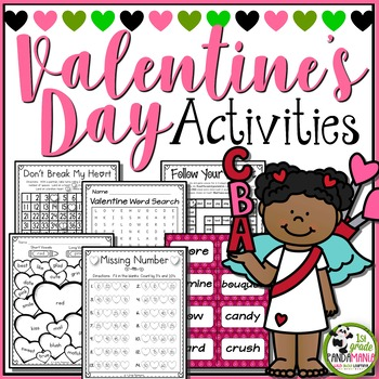 Valentine's Day Math and Literacy Activities Pack K-2