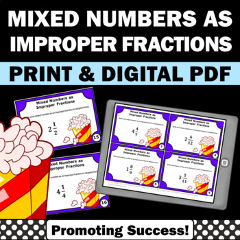 Mixed Numbers to Improper Fractions Games 4th Grade Common Core
