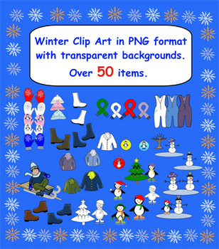 50 Plus Winter Clip Art in PNG format with Transparent bac