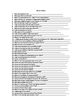 50 Question U.S. History Quiz