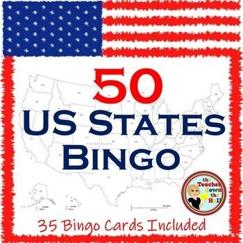United States Bingo -Know the 50 States-  Classroom Activi