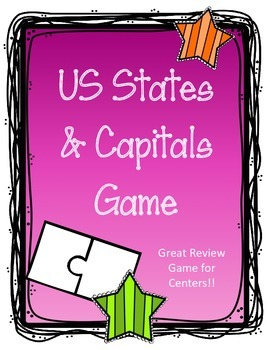 50 U.S. States Review Game.  States and Capitals.  Puzzle
