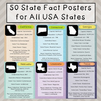 USA State Fact Posters, Set of 50, Government, History, Geography
