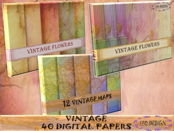 Maps - Vintage Flowers- 40 Digital Papers-  Personal or Co