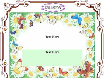 Editable Template - FLOWERS AND BUTTERFLY - PowerPoint