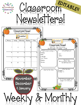 Classroom Newsletter Templates - EDITABLE - (Nov. - Jan.)