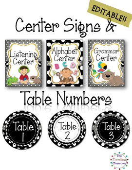 EDITABLE Center Signs & Table Numbers {Black & White Polka