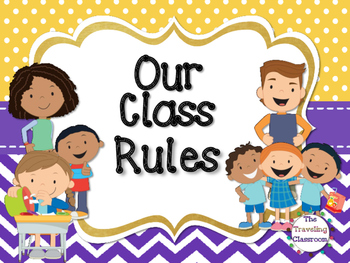 Editable Classroom Rules (Polka Dot ChevronTheme)
