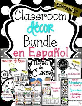 50% off!! Editable Spanish Classroom Decor Bundle (BLACK &