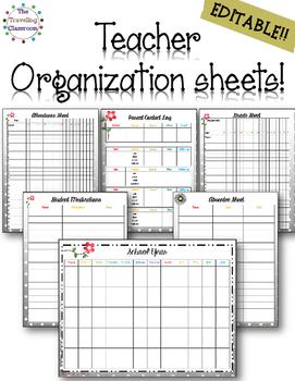 Editable Teacher Planner Organization Sheets - Black & Whi