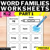 Word Families Worksheets No Prep Homework Morning Work Rea