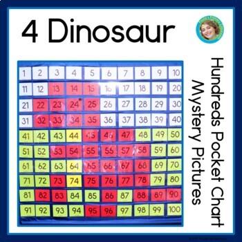 Dinosaur Hundreds Pocket Charts Mystery Pictures