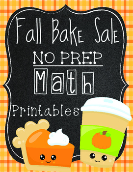 Fall Bake Sale Math Review Sheets