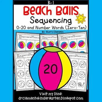 Beach Balls Sequencing 0-20 and Number Words (zero-ten)