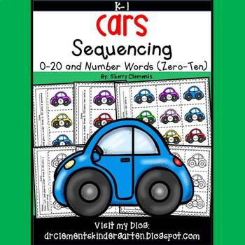 Cars Sequencing 0-20 and Number Words (zero-ten)