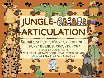 Speech Therapy:Jungle Safari Artic: AR, F, G, L, S, SH, T,