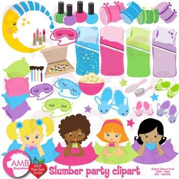 Slumber Party clipart, sleepover clip arts, AMB-338
