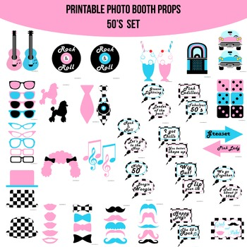50s Printable Photo Booth Prop Set
