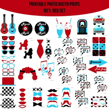 50s Red Printable Photo Booth Prop Set