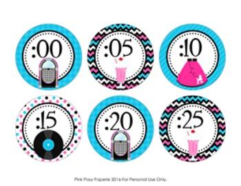 50s Sock Hop Clock Number Labels
