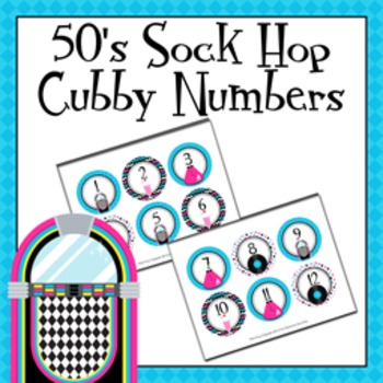 50s Sock Hop Cubby Number Labels 1-30