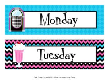 50's Sock Hop Days of the Week Calendar Headers