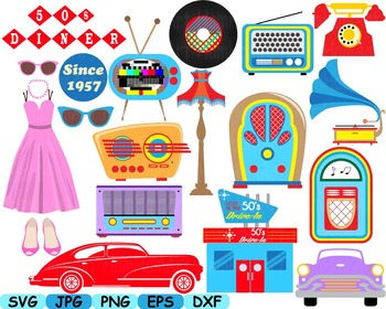 50s clip art cars music note svg classic music rock radio