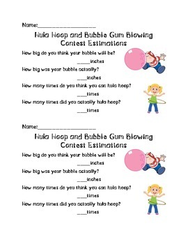 50th Day of School: Hula Hoop and Bubble Gum Contest Estimations
